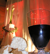 photo of communion bread and wine