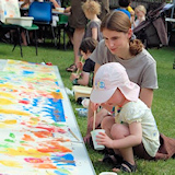 toddler painting at Leigh Road Baptist Church