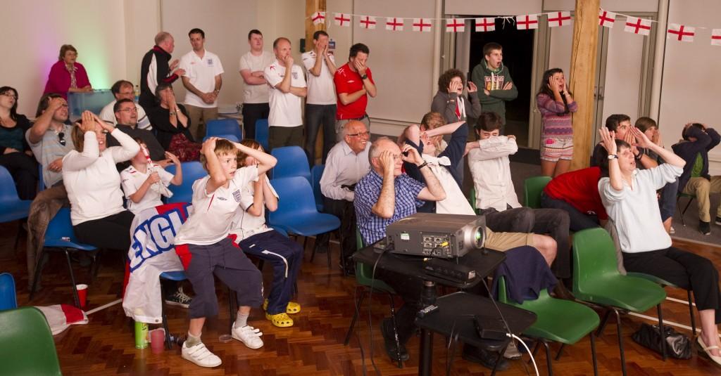 Dispair: Euro 2012 England Matches shonw at Leigh Road Baptist Church