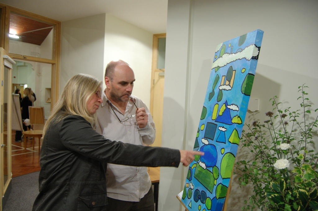 Art lovers Andy and Ruth Rotherham, from Leigh-on-Sea, are impressed by Brad's work