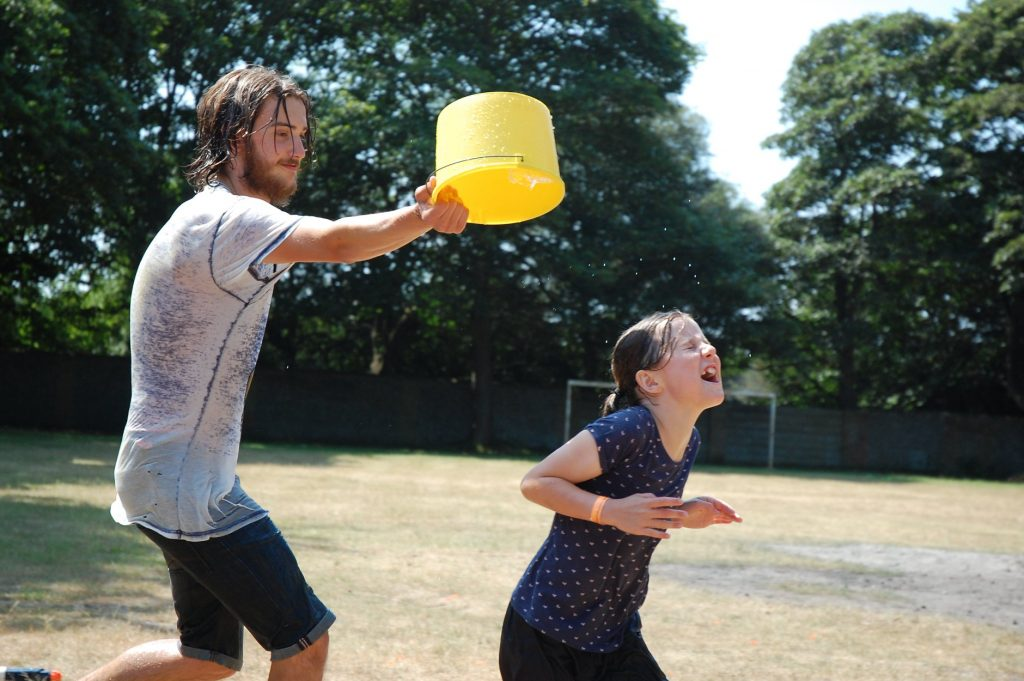 Water fight at Sizewell Hall Youth Group Trip 2018