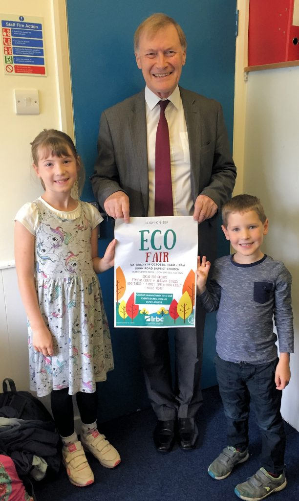Sir David Amess MP met two young members of LRBC and agreed to open the ECO FAIR in October 2019