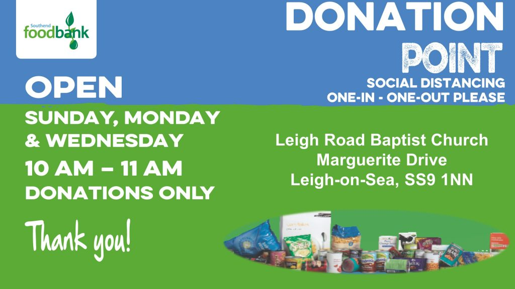 Foodbank donation drop off times Open Sunday, Monday and Wednesday 10 am to 11 am for food donations only at LRBC