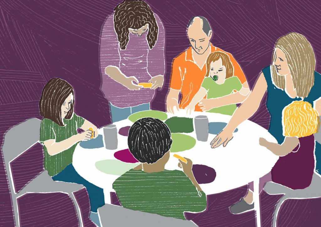 Illustration of Children and Families doing craft around a table